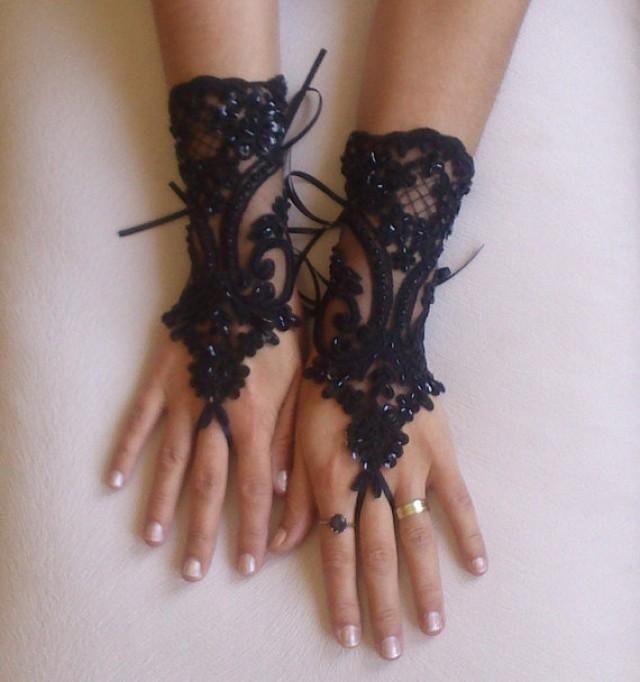 wedding photo - Free delivery Beaded goth gothic lace black Wedding gloves, Party gloves, bridal gloves fingerless gloves french lace vampire