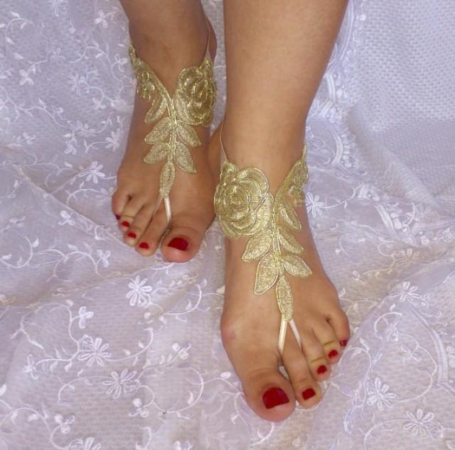 wedding photo - Gold beach sandals barefoot lace free ship bridal burlesque wedding shoe sexy bellydance show party beachlife