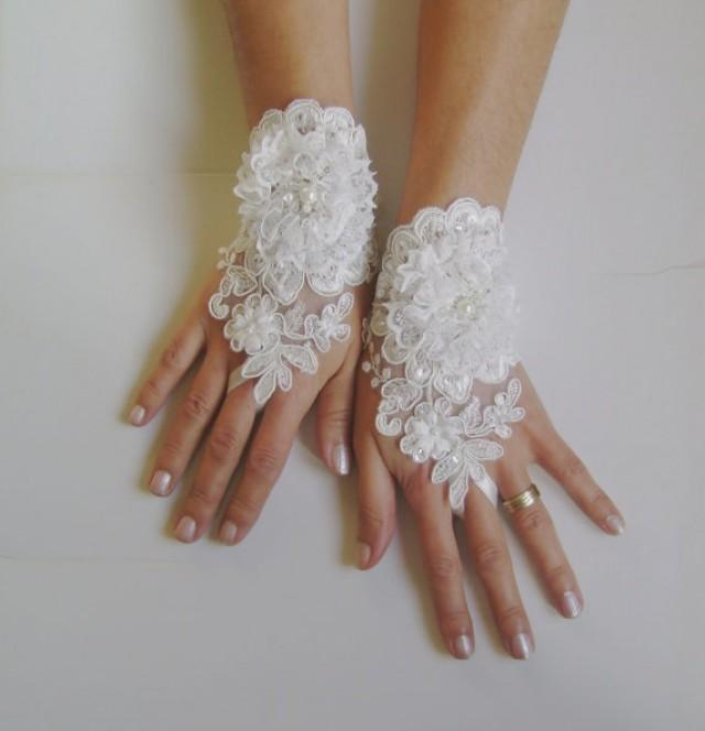 wedding photo - Unique Ivory and 3D white flower Wedding gloves adorned pearls french lace free ship shabby chic