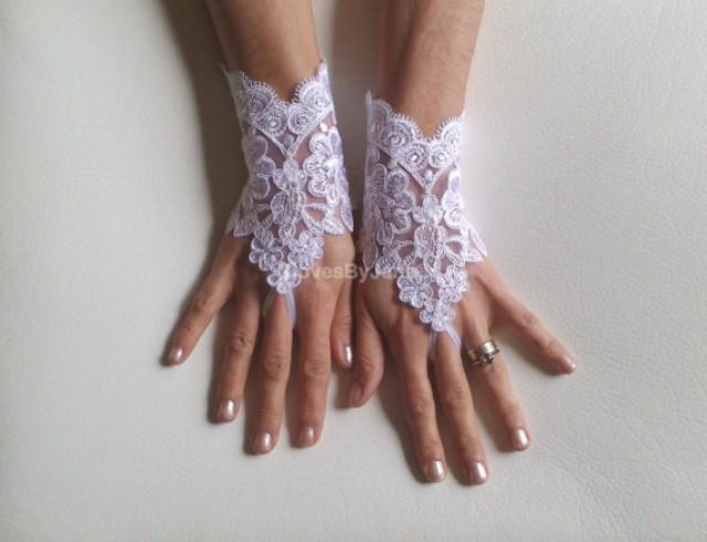 wedding photo - White Wedding gloves free ship bridal gloves fingerless lace gloves