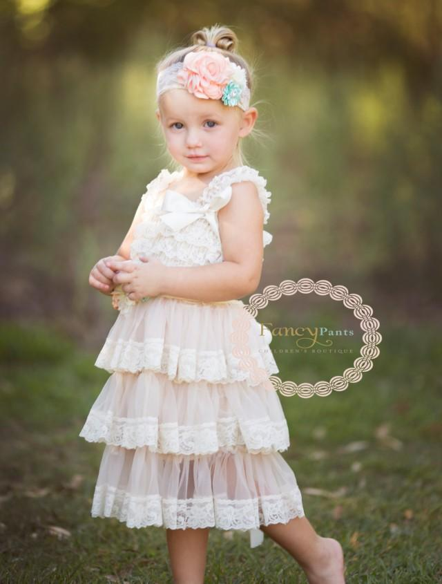 Rustic flower girl dress ivory dress country flower girl for Flower girl dress for beach wedding