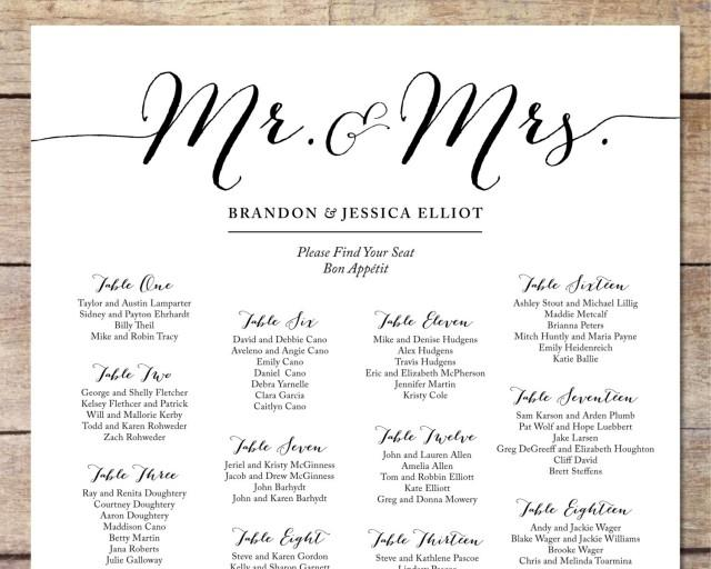 Canny image in printable wedding seating chart template