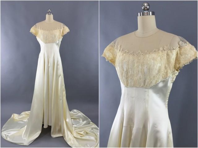 Vintage 1940s Wedding Dress / 40s 50s Ivory Satin Wedding