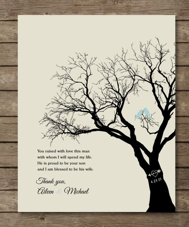 Parents Of The Groom Gift, Personalized Wedding Tree Print, Wedding ...
