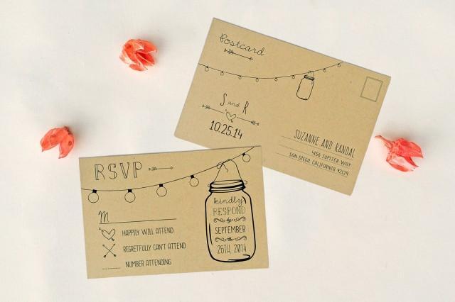 annabelle editable wedding rsvp postcard double sided rustic mason jar lights response. Black Bedroom Furniture Sets. Home Design Ideas
