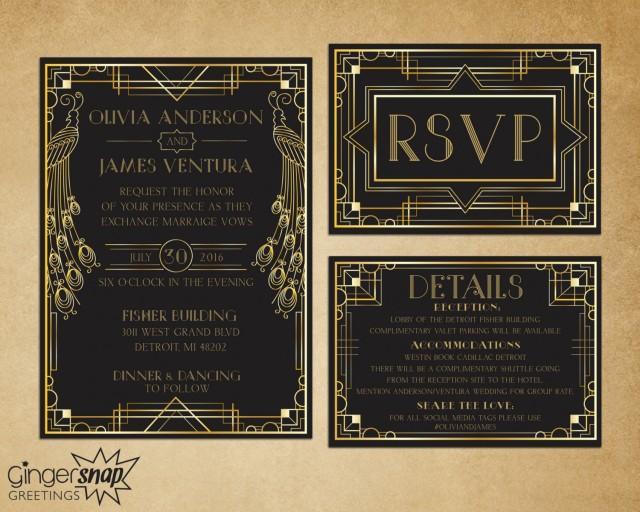 Great Gatsby Wedding Invitation: Art Deco Wedding Invitation. Great Gatsby Wedding