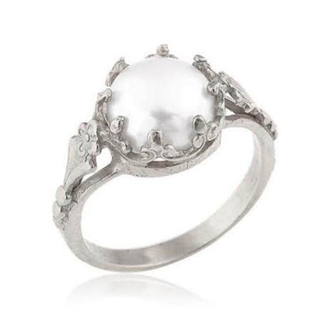 white gold pearl ring 18k gold freshwater cultured pearl