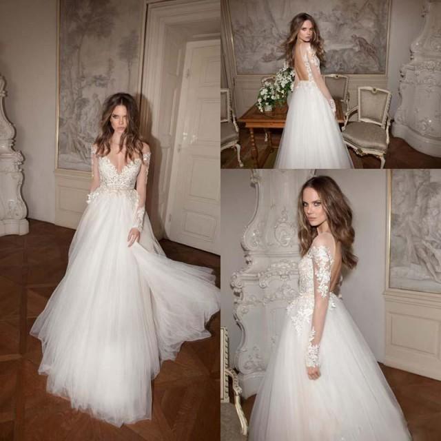 2016 berta vintage off shoulder wedding dresses a line v for Long sleeve v neck wedding dress