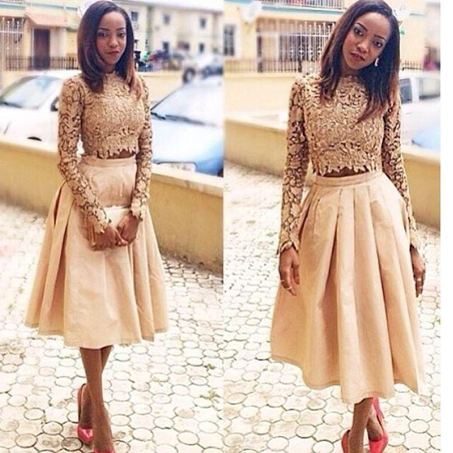 2k15 Two Pieces Lace Prom Dresses Long Sleeves Sheer Neck