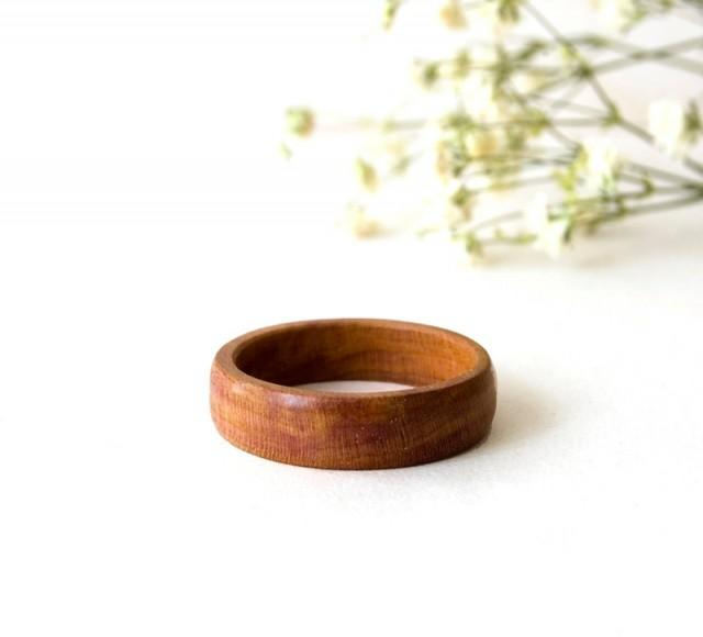 Natural wedding ring plum wood ring minimalist wood ring for How to make a wooden ring