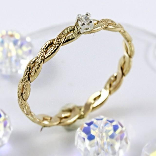 braided gold filled ring delicate cubic zirconia
