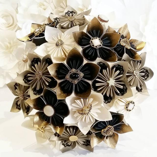 Victorian Wedding Theme Ideas: Paper Flowers Bouquet Origami Bridal UK Gothic Steam-punk