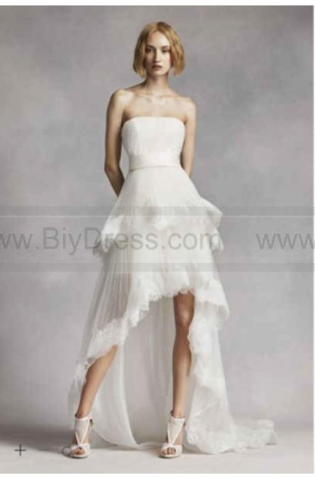 wedding photo - NEW! White by Vera Wang High Low Tiered Wedding Dress VW351281