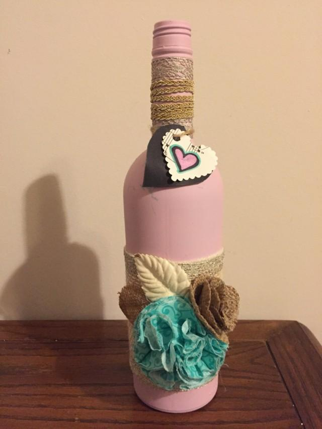 Pink decorated wine bottle wedding decor shower decor - Decoracion artesanal para el hogar ...