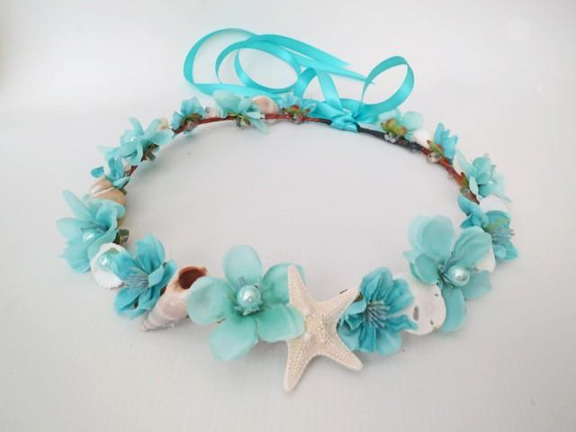 Mermaid S Dream Bridal Crown Aqua Beach Wedding Flower