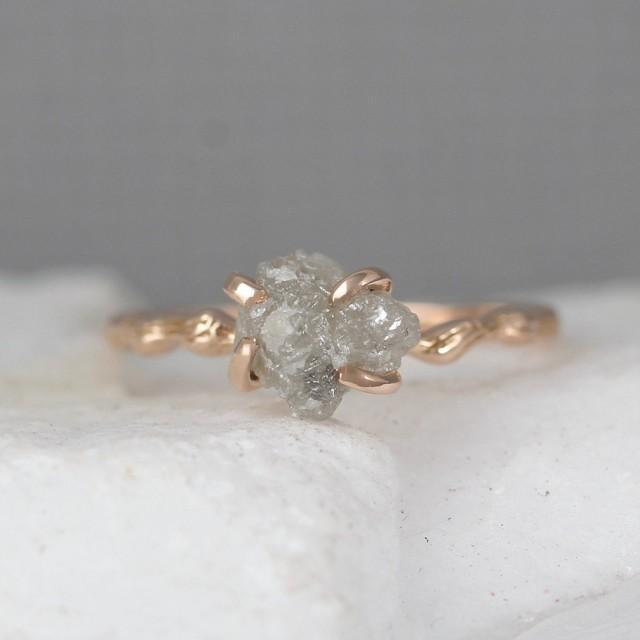 twig engagement ring 14k rose pink gold branch rings