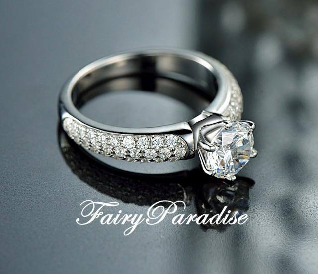 1 Carat Round Cut Man Made Diamond Solitaire Engagement Rings Promise Ring In 3 Rows Pave Band