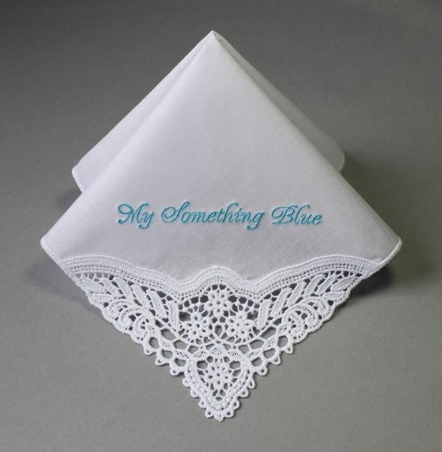 Something Blue Personalized Wedding Handkerchief MFP Embroidered 2439234