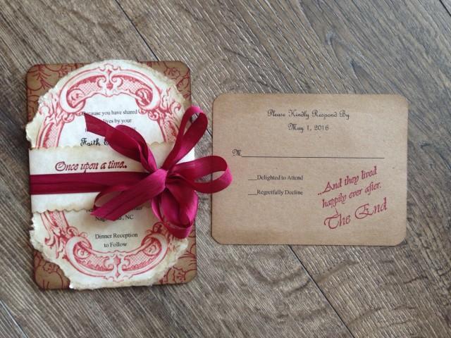 Rustic Romantic Wedding Invitations: Fairy Tale Red Wedding Invitation DEPOSIT-Romantic Wedding