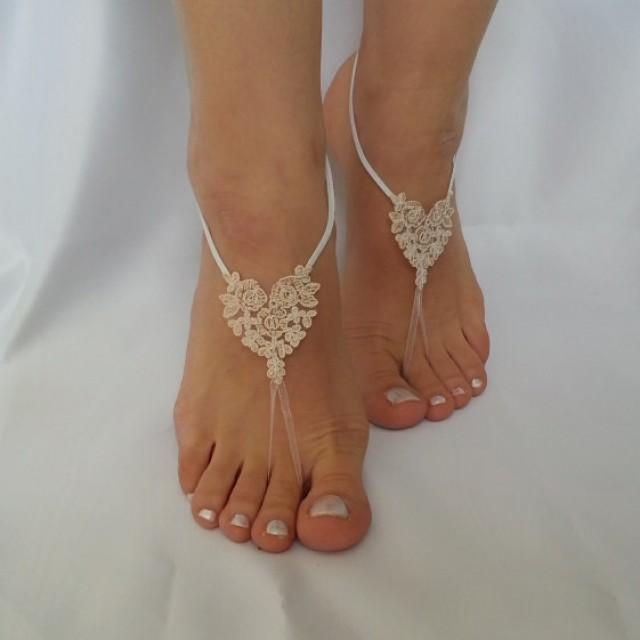 wedding photo - bridal anklet, raw slik color ivory frame Beach wedding barefoot sandals, bangle, anklet, free ship, bridesmaid bridal , country wedding