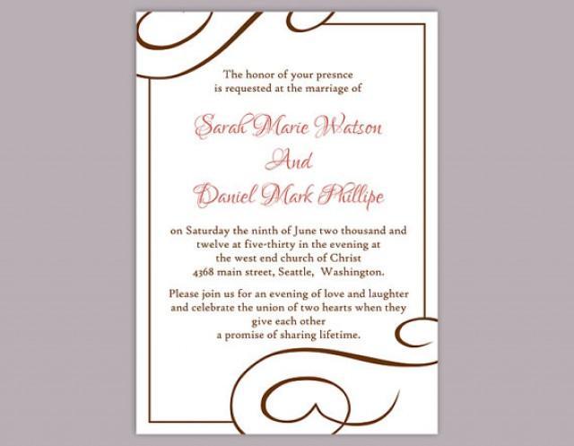Diy wedding invitation template editable word file instant download printable invitation brown for Instant download invitations