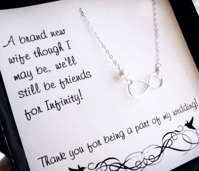 Sterling Silver Infinity Necklace Bridesmaid Gifts Pearl Necklace Bridesmaid Thank You Card