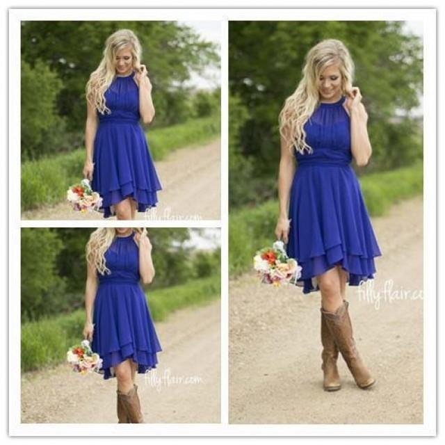 Royal Blue Country Bridesmaid Dresses Short 2016 Modest Jewel Neck