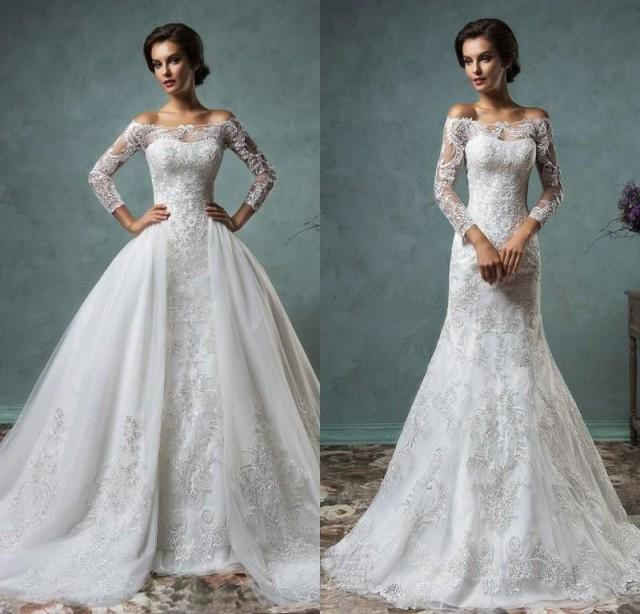 Elegant Sheer Long Sleeves Mermaid Wedding Dresses Off