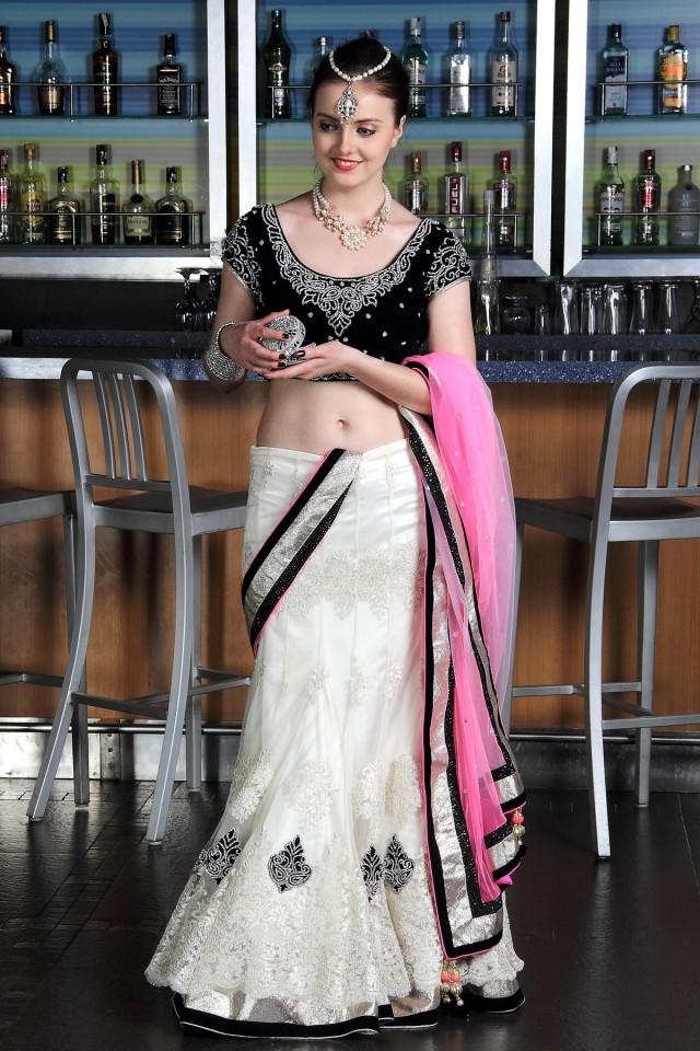 wedding photo - Black & White Lehenga with Stone&Karachi work