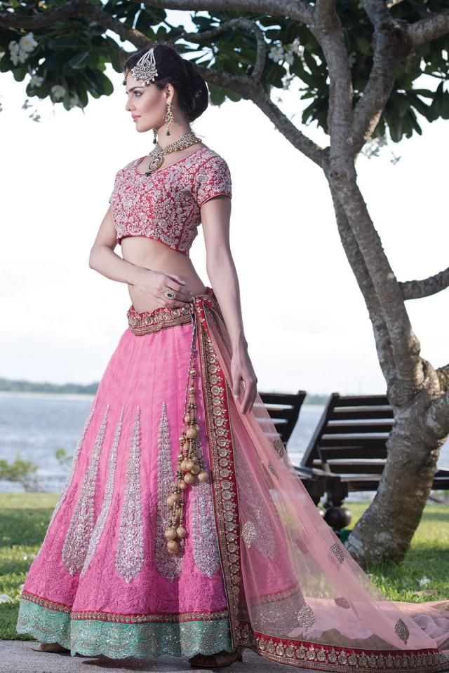 wedding photo - Pink Georgette flared lehenga with red choli