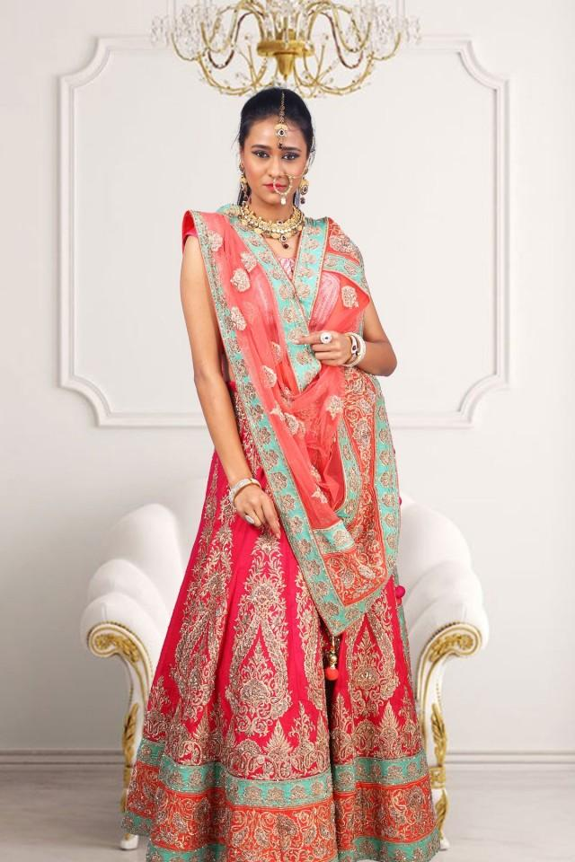 wedding photo - Pink raw silk flared zari & stone worked lehenga