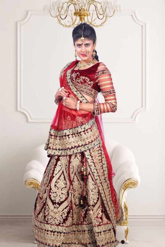 wedding photo - Maroon velvet flared lehenga with maroon choli