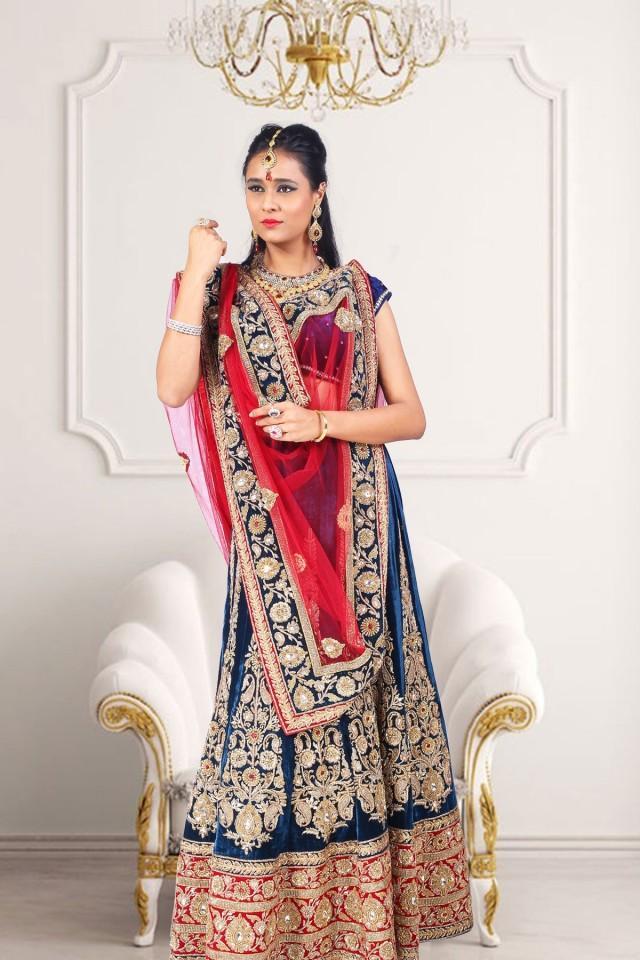 wedding photo - Wedding wear Royal blue velvet straight cut lehenga