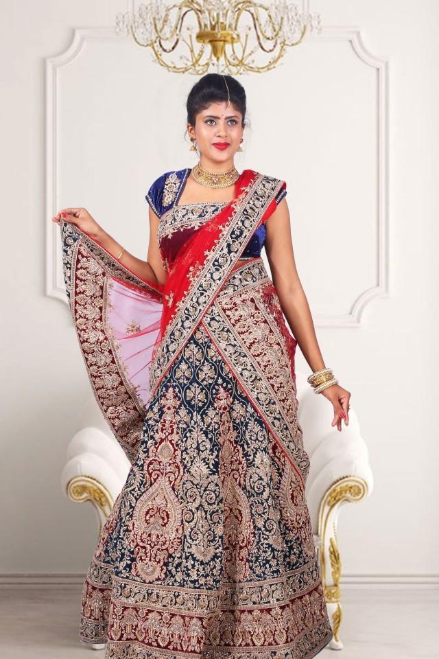 wedding photo - Wedding wear Royal blue velvet flared lehenga