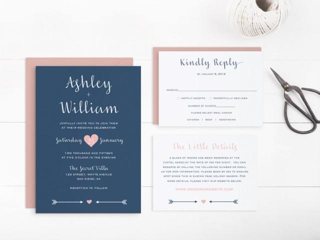Printable Wedding Invitation Suite Template, Editable Text And ...