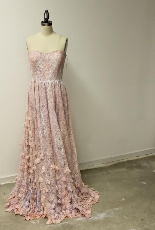 Boho princess wedding dress pink lace bohemian bridal for Pink lace wedding dresses