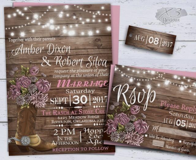 wedding photo - Country Wedding Invitations, Western Wedding Invitations,Rustic Wedding Invitations