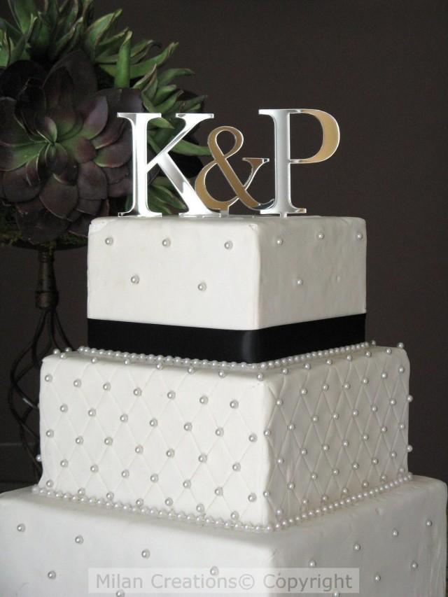 Sale On Silver Two Initials Cake Topper For Wedding Cake 2440628