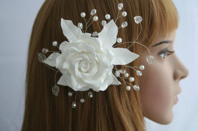 wedding photo - Wedding flower comb, Bridal comb, Bridal Hair flower, Bridal hair accessory, Bridal rose comb, Wedding comb, Bridal headpiece, White rose