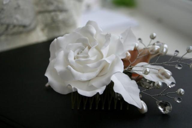 wedding photo - Wedding hair accessories, Bridal flower comb - white rose, Wedding Hair flower, Bridal pearl comb, Bridal headpiece, Bridal hair accessory