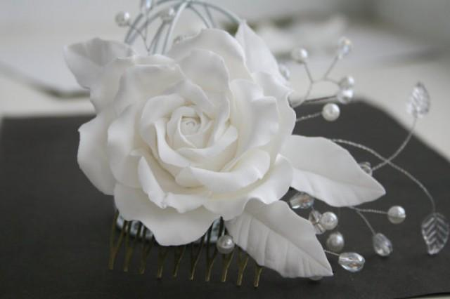 wedding photo - Bridal hair accessories, Rose comb, Bridal flower headpiece, Bridal flower comb, Bridal hair flower, Wedding flower comb