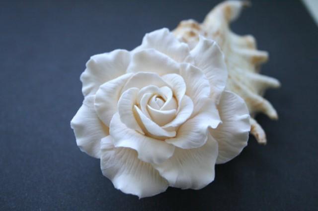 wedding photo - Ivory rose - Bridal hair flower, Wedding hair flower, rose hair clip, Bridal flower clip, Wedding hair accessories, bridal hair accessories