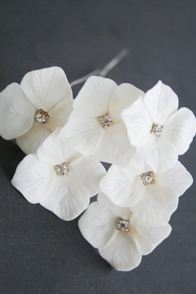 wedding photo - White hydrangea bridal hair pins, Wedding hair pins, Crystals hair pins, Bridal flower hair clip, Bridal flower pins, Wedding flower pins