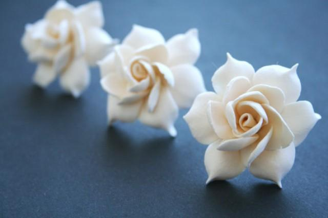 wedding photo - Ivory gardenia - bridal hair pin set, Bridal flower hair clip, Bridal flower pin, Wedding hair pins, Bridal hair flower, Flower hair pins,