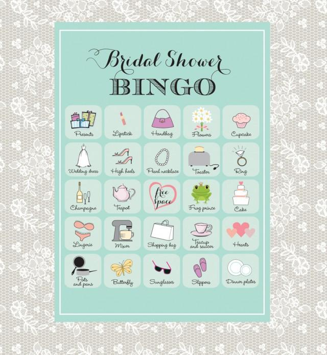 Printable Bridal Shower Bingo 40 Unique Game Cards In