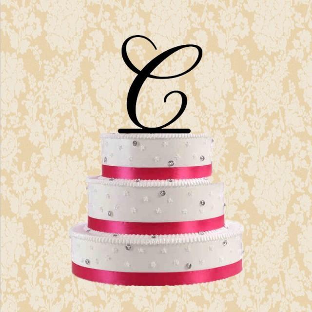 Cake Design Letters : Letter C Cake Topper-custom Letter Cake Topper For Wedding- C Cake Topper-unqiue Acrylic Cake ...