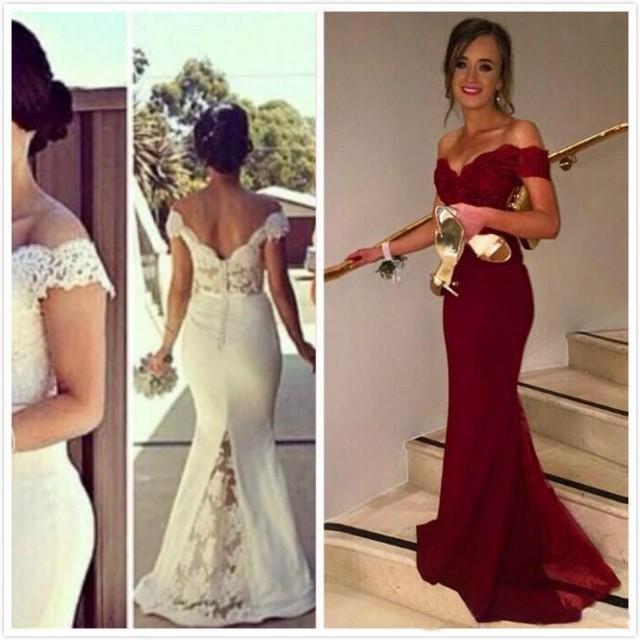 Vintage Whie Bridesmaid Dresses Sleeves Long Brdal Plus Size ...