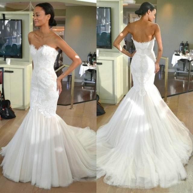 Mermaid Wedding Dresses With Train : Lace mermaid wedding dresses sweetheart tulle sweep train