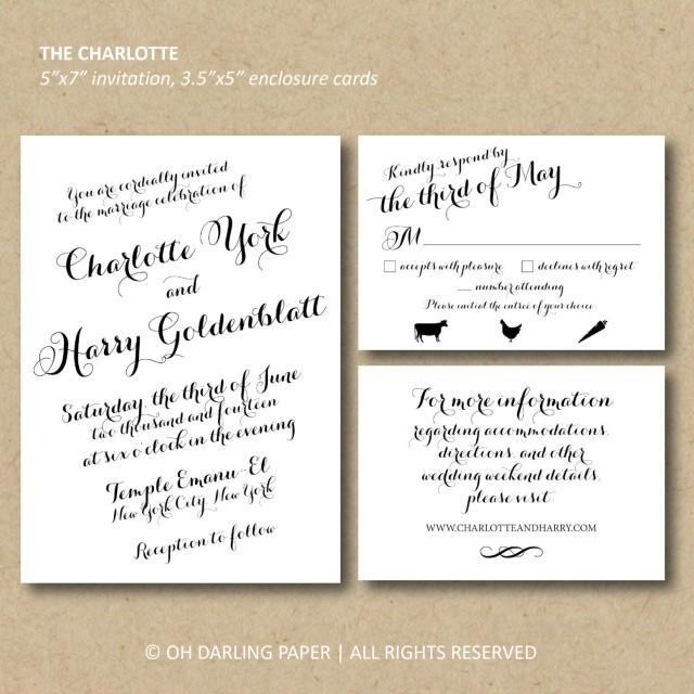 Printable Wedding Invitation The Charlotte Calligraphy
