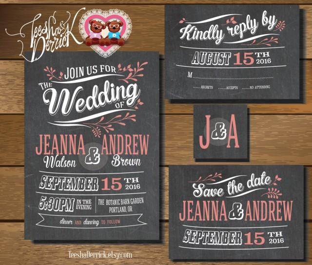 wedding photo - Printable Wedding Invitation Suite in vintage theme (w0182), of wedding invitation, RSVP card, monogram and Save the Date card designs.